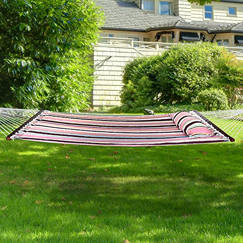 Sorbus Hammock with Spreader Bar, Detachable Pillow, Heavy Duty, 450 Pound Capacity, Perfect for Indoor Outdoor Patio, Deck, Yard Hammock Only, Mocha