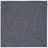 Peel and Stick 12x12 Self Adhesive Carpet Tiles Do It Yourself (DIY) Ribbed Carpet Floor Tiles for Residential & Commercial Carpet Squares for Flooring Use 36 Tiles (Smoke)
