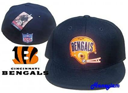 1d9bf0c75bd551 Image Unavailable. Image not available for. Color: Cincinnati Bengals  Fitted Size 7 3/8 Vintage Throwback Helmet Logo Hat Cap ...
