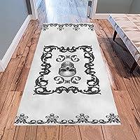 AnnHomeArt Filigree Skull Gothic Art Area Rug Modern Carpet Runner Rug 7x33