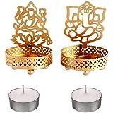 Rolimoli Golden Metal Decorative Shadow Divine Lord Ganesha Ganpati ji and Laxmi Ji Tealight Candle Holder (with 2 Tealight Candles)
