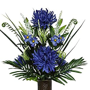 Stay-In-The-Vase Artificial Cemetery Flowers for Outdoor-Grave-Decorations - Deep Blue Spider-Mums Fake Flowers, Non-Bleed Colors, with Design 109