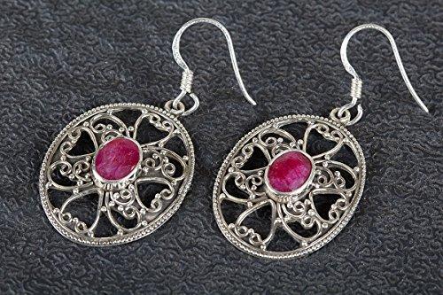 Ruby Earring, 925 Silver Earring, Baguette Ruby Earrings, Heart Shape Earrings, Drop Dangle Earrings, Antique Earrings, Comfort Earrings, Gypsy Earrings, Statement Earrings, Red Jewelry, Boho Chic ()