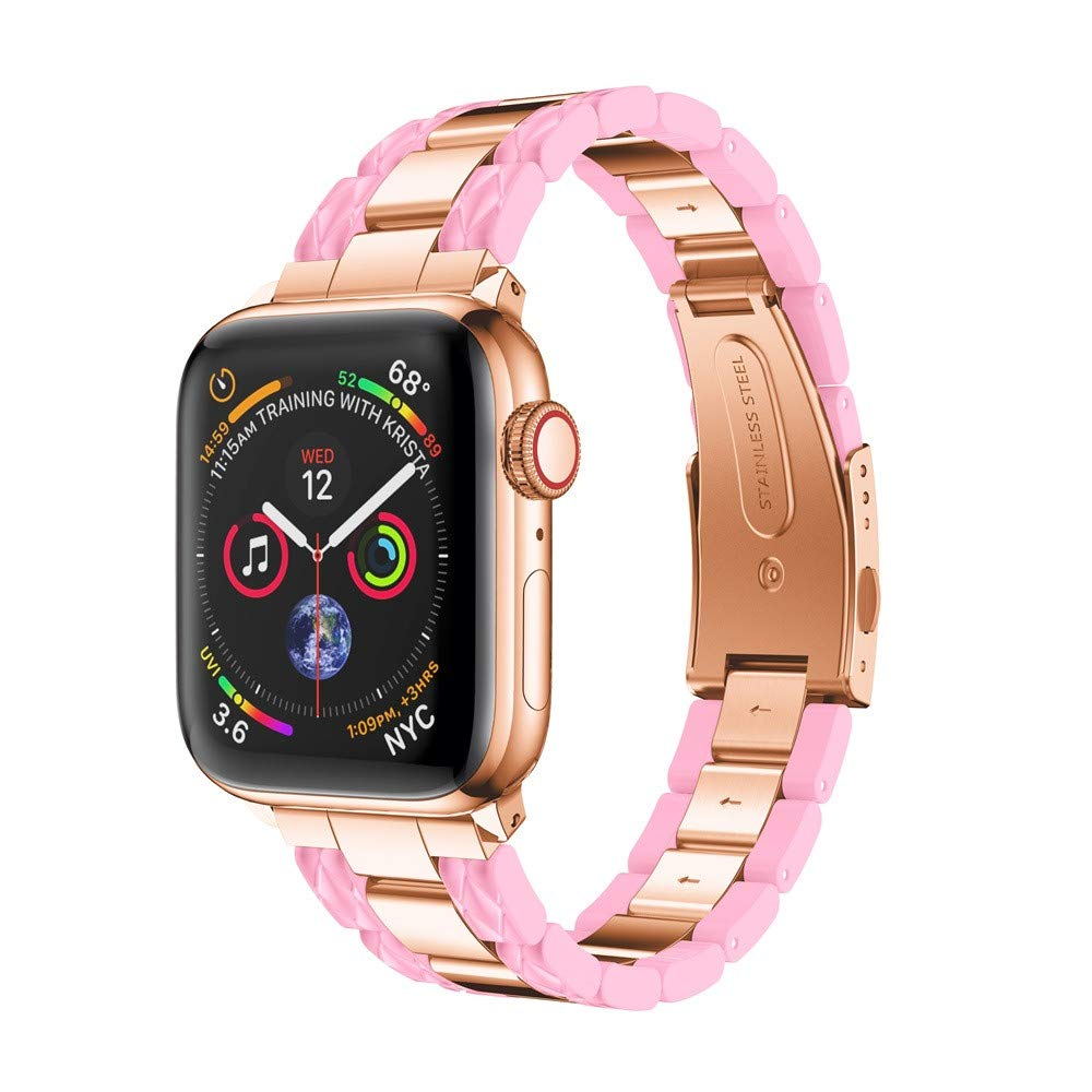 BabiQ Stylish Stainless Steel Strap Wrist Band Replacement Bracelet for Apple Watch 4 40mm (Pink)