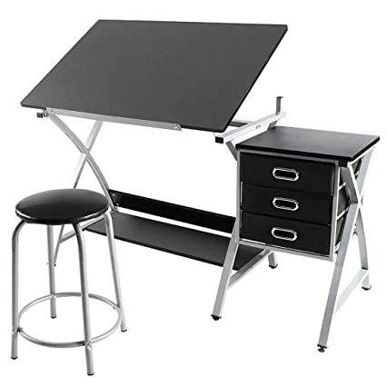 Magnificent Fobuy Adjustable Drafting Table Art Craft Drawing Desk Art Hobby Folding Craft Table Station W Stool And 3 Storage Drawers Black Home Interior And Landscaping Analalmasignezvosmurscom