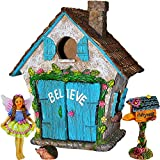 Mood Lab Fairy Garden House Miniature Believe Set of 4 pcs, Hand Painted Figurines & Accessories, Kit Outdoor Indoor Decor