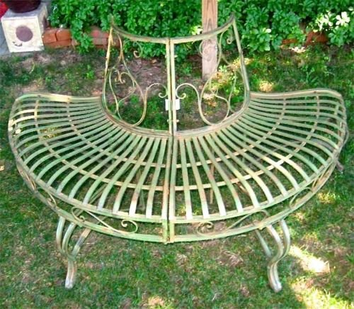1/2 Round Tree Bench/plant Stand 30.5 High- Wrought Iron - Antique Green Finish