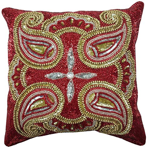 Linen Clubs Mini Paisely Beaded Cushion Cover 14x14 Red Silver Gold Multi (Bedding Paisely)