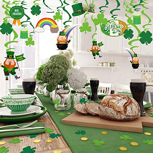 Tuoshei 30 Pieces St Patrick's Day Decorations Set,St Patrick's Day Green Hanging foil Swirl Decorations for Home Party Dangling Ceiling Window Wall Decor .Accessories for Irish St. Patrick's Day Festival Party Event Decorations.]()