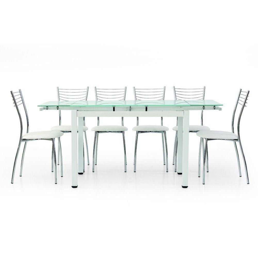 Tavolo Cucina Allungabile Vetro.Milanihome Tavolo Da Pranzo Moderno Di Design Allungabile Bianco