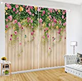 LB Room Darkening Thermal Insulated Blackout Curtains for Bedroom Living Room,Full Wall Spring Scenery 2 Panels Noise Reducing Window Treatment 3D Window Drapes,80 Inch Width by 84 Inch Length