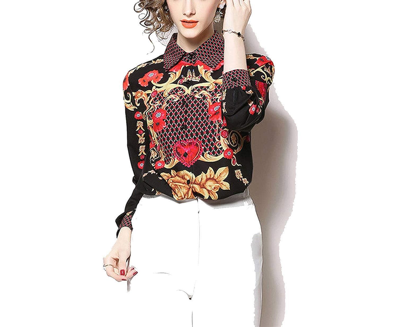 e2644badf5f Women Long Sleeve Print Shirts Blouse Designer Runway Tops 2019 ...