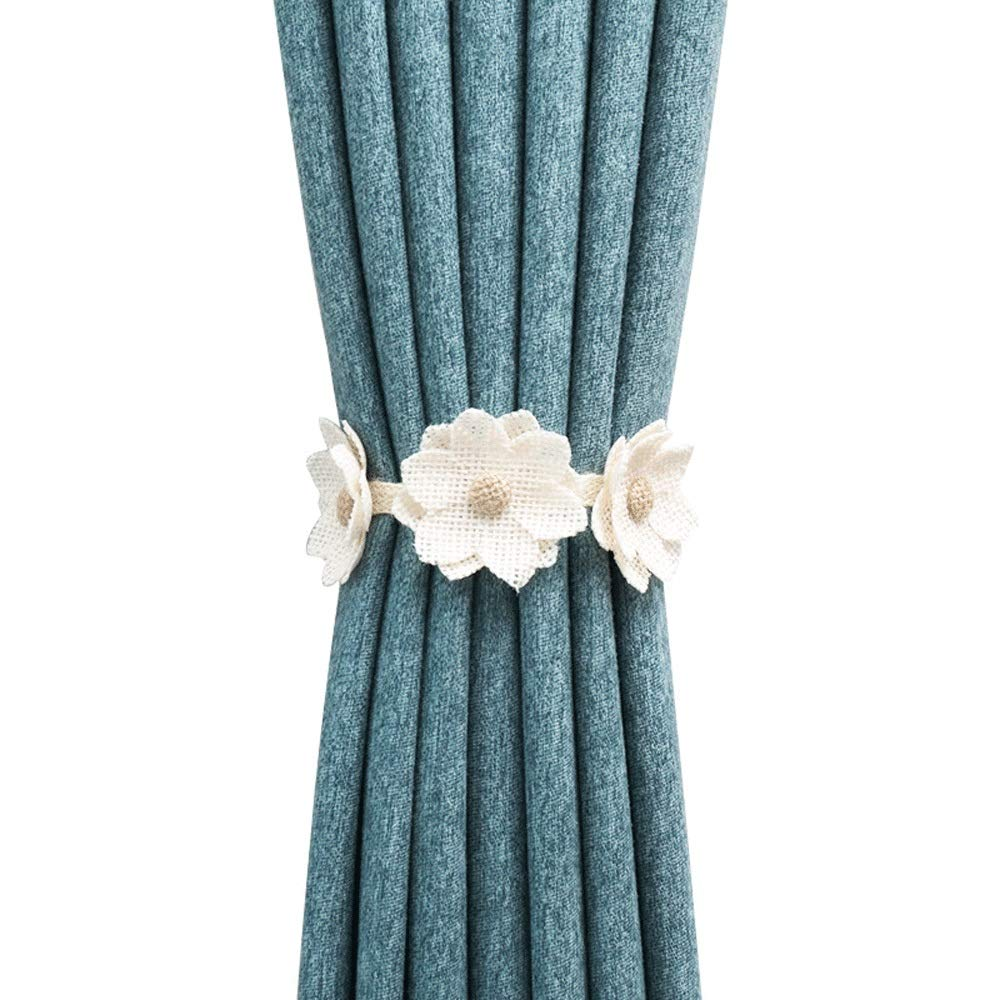 Curtain Strap 1 Pair Flower Shape Curtains Tieback Magnet Curtains Buckle Magnetic Elegant Curtain Holder Strap Suitable For Bedroom, Office Home Window Curtain Strap ( Color : 8 , Size : 40cm ) by DERTHWER