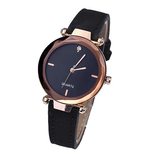 Kinlene Mujer Reloj de moda de cuarzo Casual PU correa de cuero analogico redondo reloj (