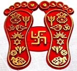 "Set of 2 Sri laxmi lakshmi charan paduka (laxmi's feet) 3.5"" Beautifully handcrafted amulet lucky charm or yantra - For mmense wealth prosperity Diwali Pooja"