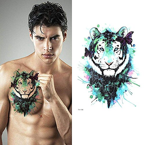 MalaRun Fashion Waterproof Beauty 3D Tattoos Stickers Body Art Green Tiger Butterfly -