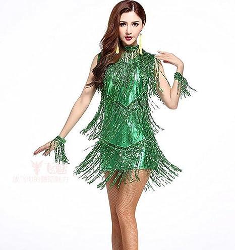 Falda de Flecos Ropa de Danza Latina Traje de Competencia de ...