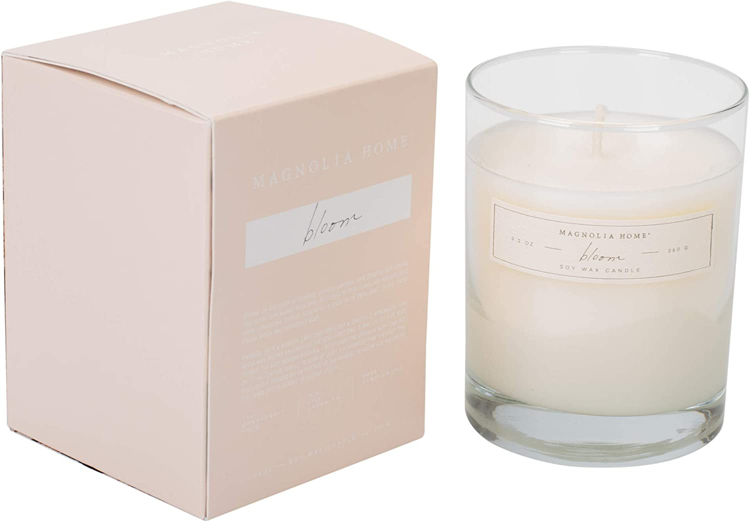 Magnolia Home Bloom Scented 9.2 oz Soy Wax Boxed Glass Candle by Joanna Gaines - Illume Pack of 2