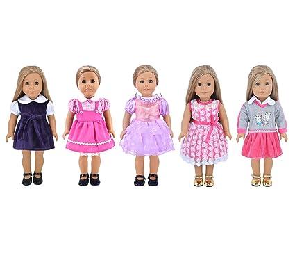 Amazon.com: Ebuddy Fashion 5-sets Ramdon Different Style Doll ...