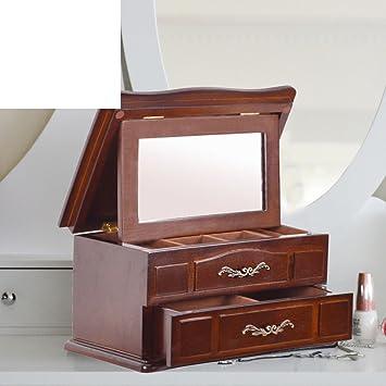 TRE Europeo espejo madera joyería cajas almacenamiento caja de joyería/ regalo de cumpleaños de novia matrimonio-A: Amazon.es: Hogar