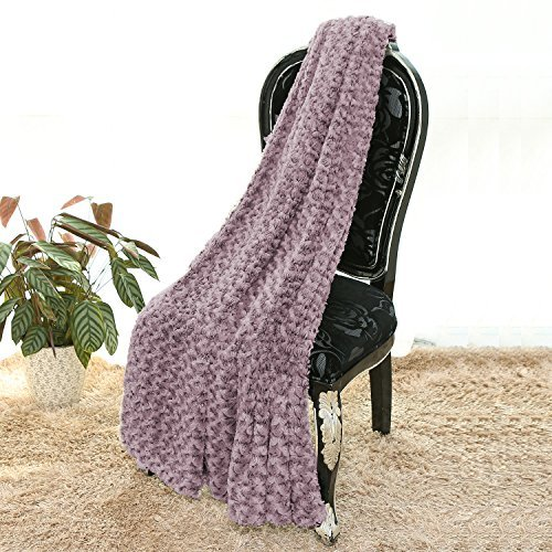 Simple&Opulence Super Soft Microfiber Stereo Rose Pattern Home Furnishing Throw Blanket 50''×60''(Purple)