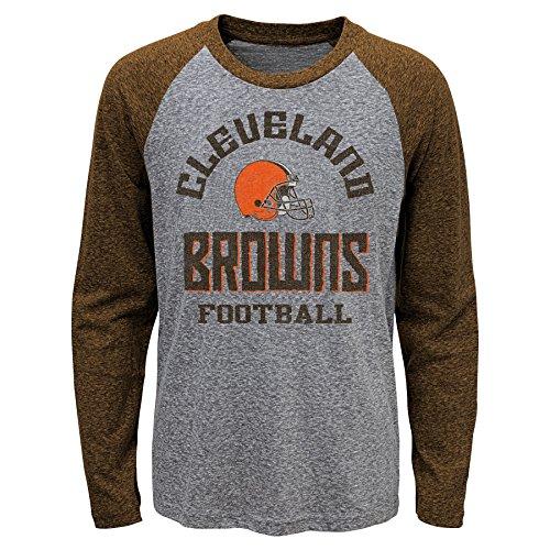 Outerstuff NFL Cleveland Browns Kids Classic Gridiron Long Sleeve Raglan Tee Dark Grey Heather, Kids Medium(5-6)