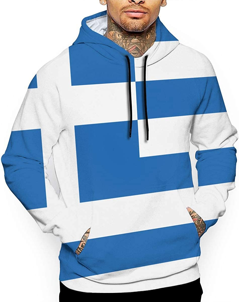 Ou50IL@WY Mens Greece Map with Greek Flag Pullover Hoodie Athletic Cotton Outwear with Pocket for Men
