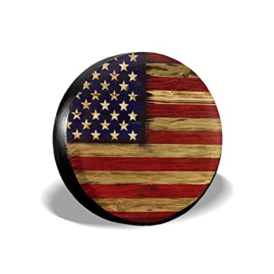 Tire Cover American Flag Reclaimed Wood Potable Polyester Universal Spare Wheel Tire Cover Wheel Covers for Jeep Trailer RV SUV Truck Camper Travel Trailer Accessories 15 Inch: Automotive