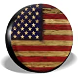 Tire Cover American Flag Reclaimed Wood Potable Polyester Universal Spare Wheel Tire Cover Wheel Covers for Trailer RV…