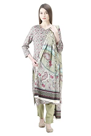 5471c2fa93 Uptown Women's Stitched 100% Pakistani printed Cotton Lawn suit: Amazon.in:  Clothing & Accessories