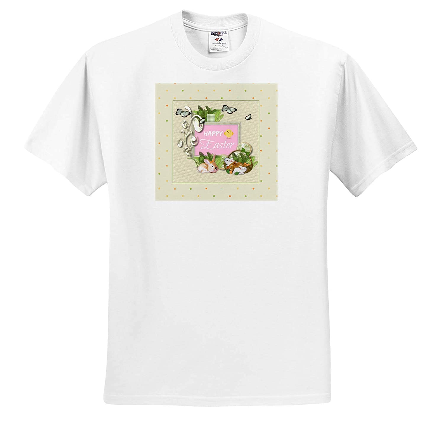 Happy Easter Eggs T-Shirts Baskets and Butterfly Bunnies 3dRose Beverly Turner Easter Design and Photography Ferns