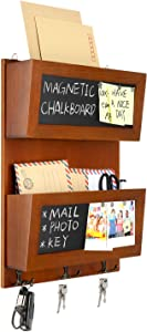 Magicfly Mail Sorter Organizer Wall Mount, 2 Slot Wooden Mail Holder and Storage for Wall with Chalkboard Surface and 3 Double Key Hooks, Bill Letter Organizer for Office Home Décor
