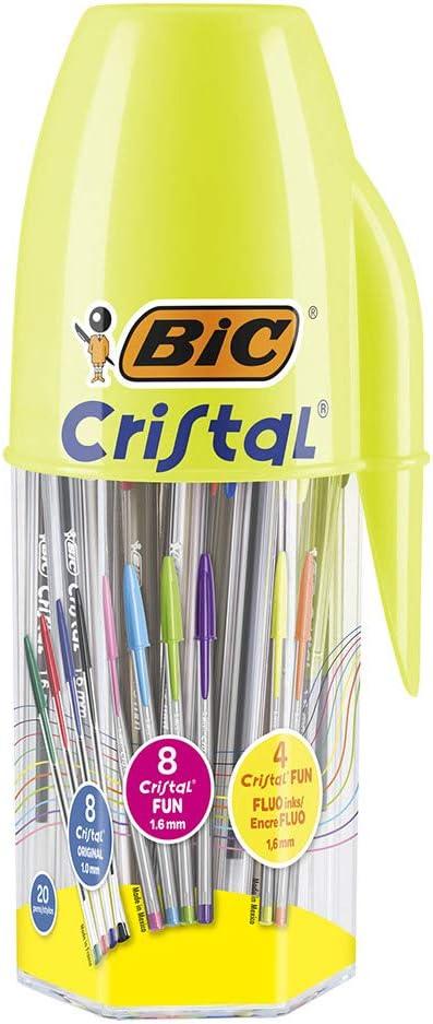 Bote de 20 bolígrafos BIC Cristal Original y BIC Cristal Fun con ...
