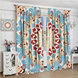 Classic Decor Collection Room darkened curtain Luxurious Royal Classics Stylish Summertime Exotic Arabic Style Art Print Insulated room bedroom darkened curtains W108 x L96 Inch Light Blue Red Ivory