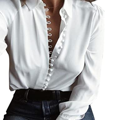 a39342083 Image Unavailable. Image not available for. Color: Kangma Women Casual  Elegant Solid Long Sleeves Lapel Button Shirts Blouse White