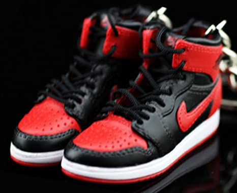 the latest 3d0b2 6b30e Amazon.com   Pair Air Jordan I 1 Retro High Bred Black Red OG Sneakers  Shoes 3D Keychain Figure   Everything Else