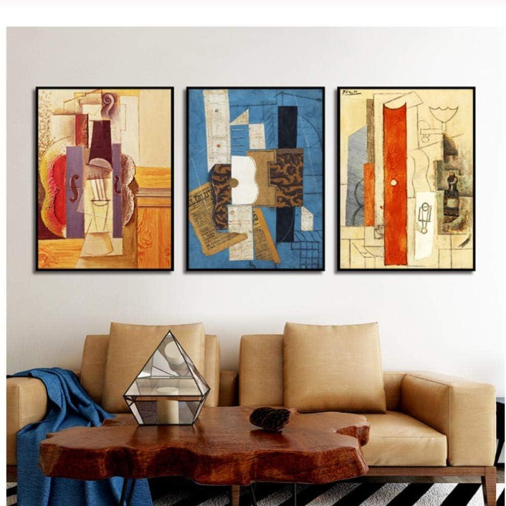 Pared nórdica Estilo Moderno Abstracto geométrico Lienzo Pintura Carteles e Impresiones Cuadros para Sala de Estar decoración minimalismo 50x75 cm sin Marco