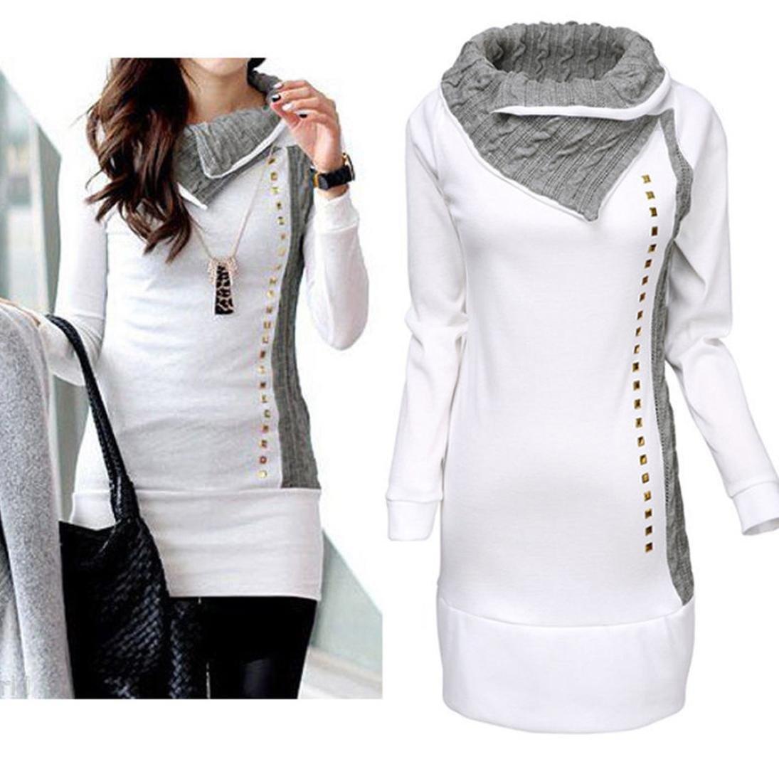KaiCran Fashion Sweatshirt For Womens Patchwork Blouse Tops Ladies T-Shirt Blouse Tops Rivet Blouse