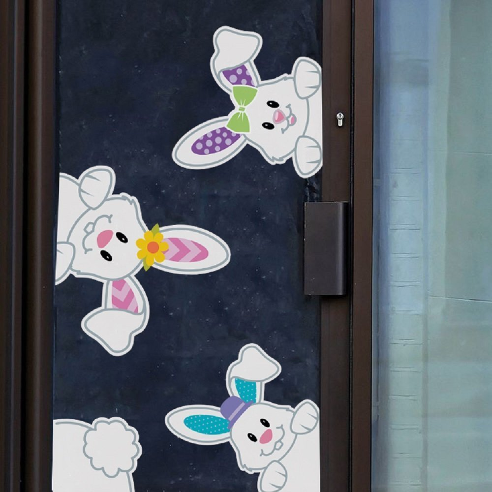 Easter Bunnies Window Clings/Stickers for Easter Games/ Egg Hunt/ Party Decoration 2018 4 pcs