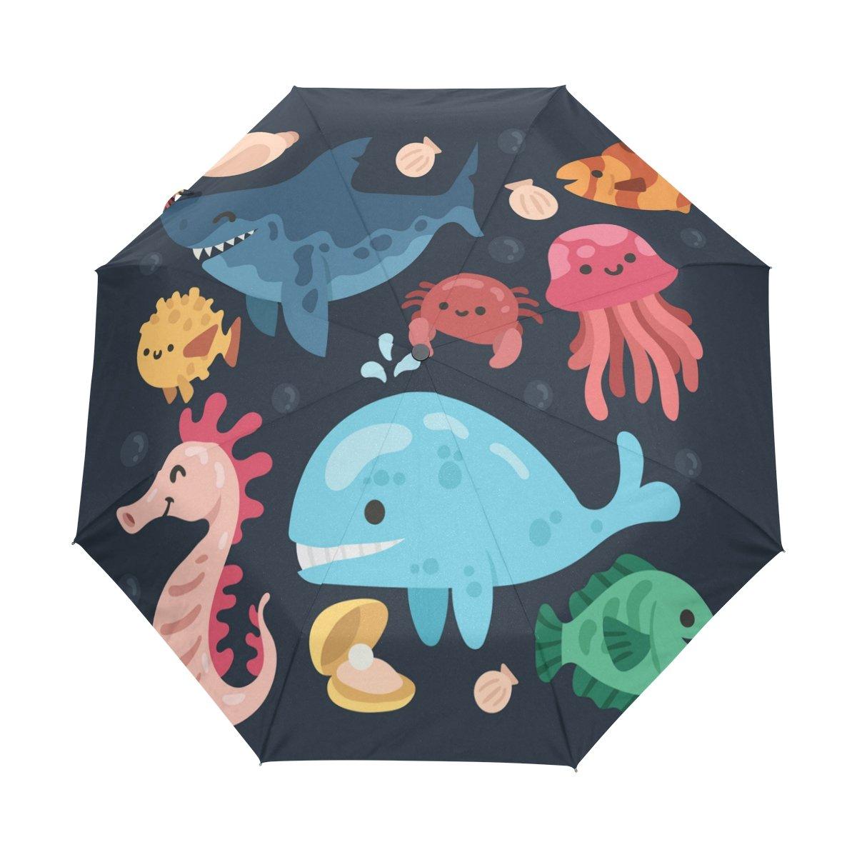 Senya Saobao防風と防雨トラベル傘でクール自動開いて閉じFoldingパックスマイリー海の動物のポータブル折りたたみ式太陽雨傘 B07FPFK5L8