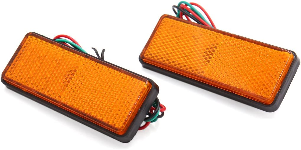 2x Rouge Rectangulaires LED Réflecteur Feu Arriere Frein Lampe Pour Voiture Moto
