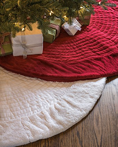 Balsam Hill Berkshire Channel Stitch Tree Skirt, 84 inches, Ivory White by Balsam Hill (Image #3)
