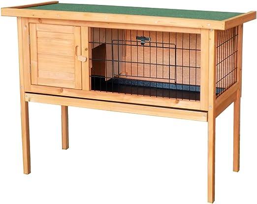 WilTec Caseta Conejos conejera casa roedores Mascotas Animales pequeños Madera jardín balcón: Amazon.es: Productos para mascotas