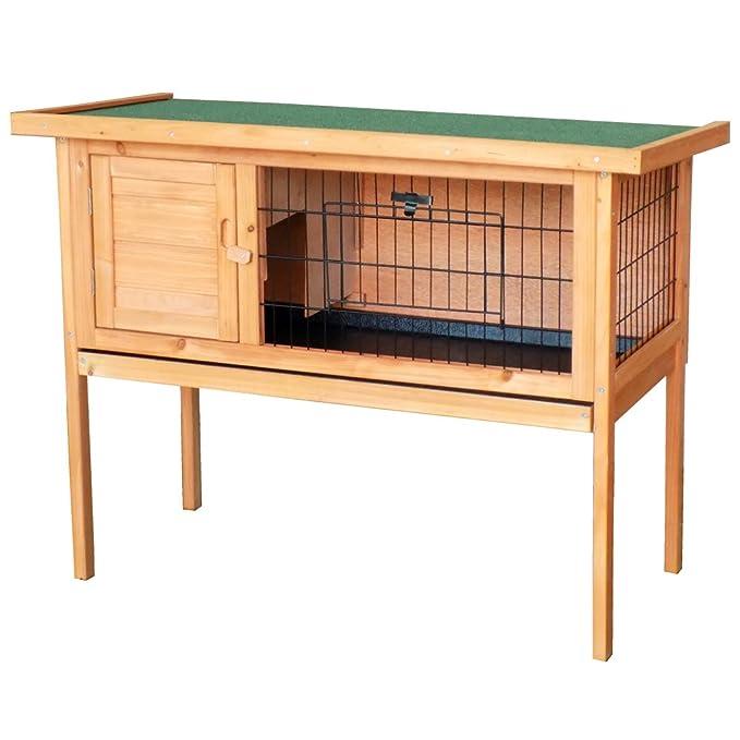 Caseta conejos conejera casa roedores mascotas animales pequeños madera jardín balcón: Amazon.es: Productos para mascotas