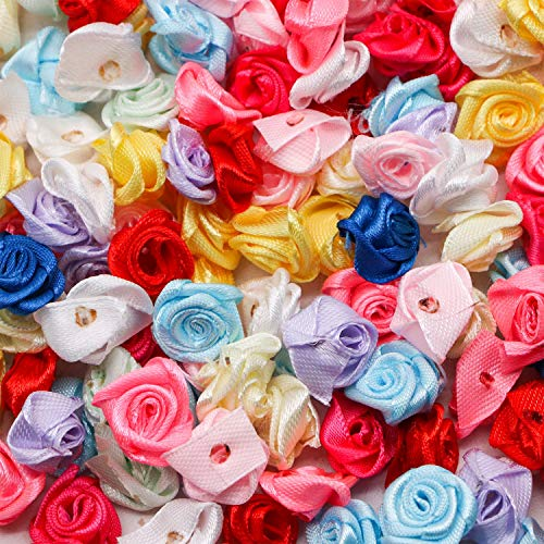 JETEHO 500 Pcs Mini Satin Ribbon Rose Flowers Bows Applique Sewing Fabric Flower for Crafts Headbands -