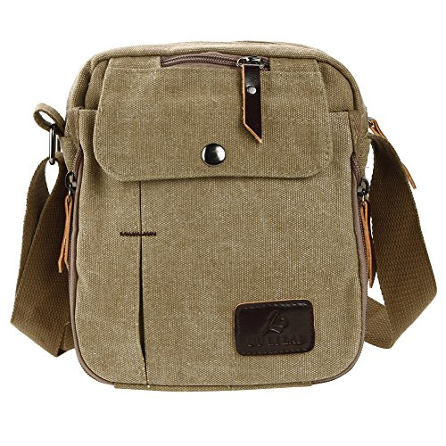 Handbag Men Canvas Business Small Shoulder Leisure Khaki Domybest brown Bags Messenger Multi function wnqtvfTp