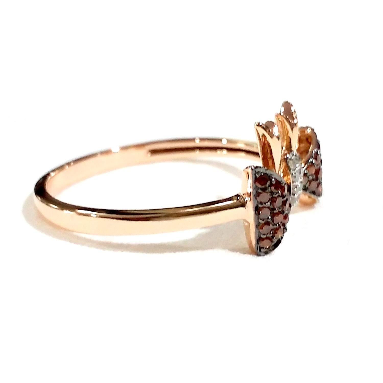 925 Sterling Silver Ring Cognac /& White Diamond Ring Goldenstar 0.25Ct