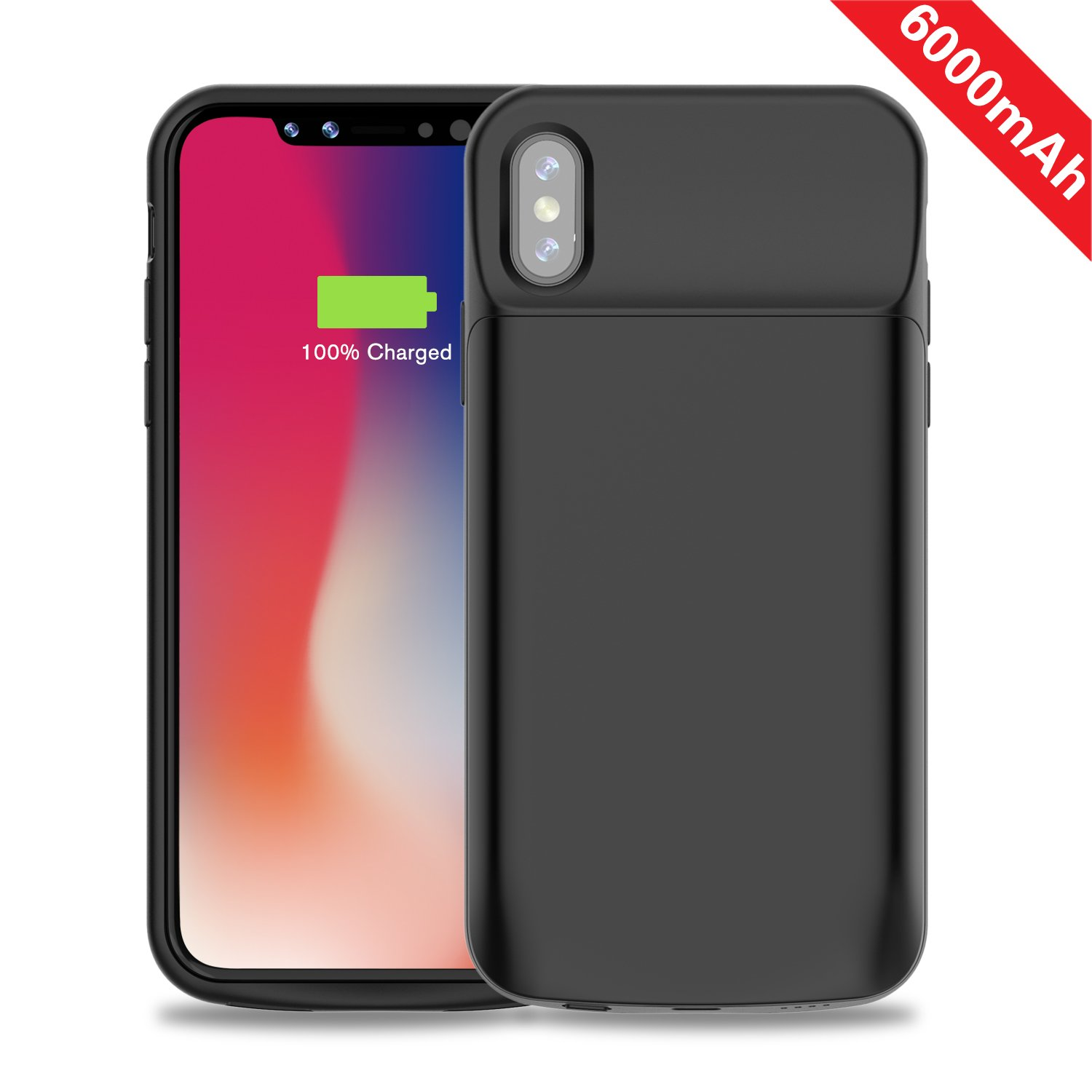 iPhone X Battery Case, Accerzone iPhone X / 10 6000mAh Extended Protective Charger Case, Rechargeable External Backup Battery Pack with Sync Through Technology for iPhone X / 10 2017 (5.8in)