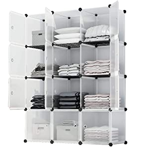 KOUSI Portable Storage Shelf Cube Shelving Bookcase Cube Shelves Cube Shelves Bookshelf Cubby Organizing Closet Toy Organizer Cabinet, Transparent White, 12 Cubes Storage