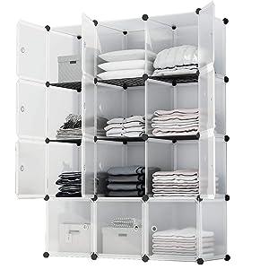 KOUSI Portable Storage Shelf Cube Shelving Bookcase Cube Shelves Cube Shelves Bookshelf Cubby Organizing Closet Toy Organizer Cabinet, Transparent White, 12 Cubes Storage